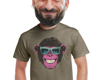 chimp t-shirt mens cool funky monkey tshirt hip cool animal prints original nature tees guy hip trendy screen print modern artistic unique