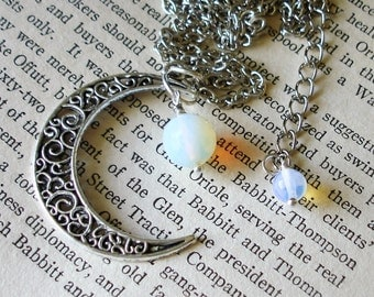 Crescent Moon and Moonstone gemstone Necklace C 4-13