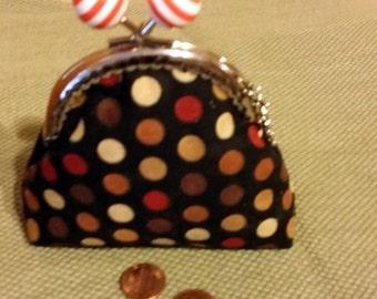 Coin purse, metal kiss push lock frame, 100% cotton, brown, orange, yellow, orange,  circles on black