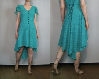 80s LACE Up HIGH LOW Hem Vintage Asymmetrical Button Down Puff Tie Sleeve Turquoise Green Rayon Mini Midi Dress xs Small s/m 1980s