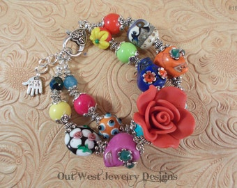 Chunky Day of the Dead Bracelet with Howlite Turquoise Sugar Skulls and Lampwork No. 185