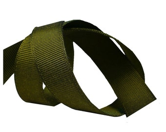 "5/8"" Loden Green Grosgrain Ribbon, Vintage Sewing Millinery Supply"