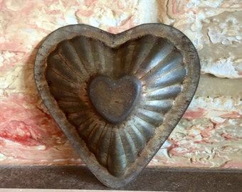 Vintage Metal Heart Mold Perfect Patina for Crafting Heart Tins for Holiday Decorating Such Fun! - Have a Heart!