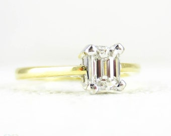 Emerald Cut Diamond Engagement Ring, Single Stone Rectangular Step Cut 0.40 Carat Diamond Solitaire. Estate 18 Carat Gold Ring.
