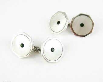 Vintage Sterling Silver Cufflinks. Mother of Pearl & Green Paste Late Art Deco Man's Cuff Links.