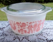Pretty Pink Pyrex Amish Butterprint#473 - One Quart Round Covered Casserole, RESERVED for Robin Hansen
