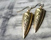 SALE Statement Earrings Dangle Earrings, Accessories, Gift Earrings, Vintage Brass Wedge Earrings, Gift for Her, Accessories, Gift Box