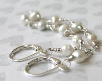 Freshwater Pearl Earrings Statement Earrings, Pearl Earrings, Jewelry, Bridal Jewelry,Dangle Earrings, Bridal Earrings, Wedding, Accessories