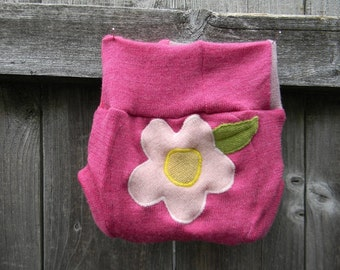 Upcycled Merino Wool Soaker Cover Diaper Cover With Added Doubler Pink With Flower Applique NEWBORN 0-3M Kidsgogreen