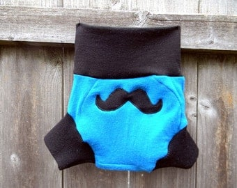 Upcycled Merino Wool Soaker Cover Diaper Cover With Added Doubler Black/ Teal With Mustache Applique MEDIUM 6-12M Kidsgogreen