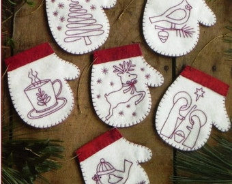 Redwork Embroidery Pattern and Kit, Redwork Mittens, Christmas Mitten Ornaments, Redwork Stitchery, Rachel's of Greenfield, PATTERN AND KIT
