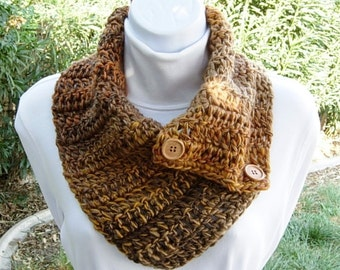 Soft Crochet Winter NECK WARMER Scarf with Wood Buttons, Gold Yellow Dark Brown Caramel Orange Buttoned Cowl, OOAK Handmade..Ready to Ship