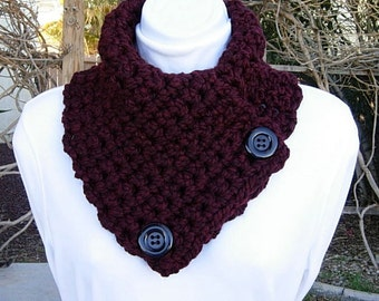 NECK WARMER SCARF Dark Burgundy Wine Red, Chunky Soft Wool Blend, Black Buttons, Soft Thick Winter Crochet Knit Women's Cowl..Ready to Ship