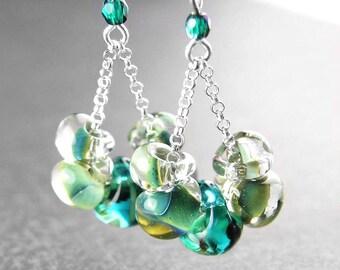 Sea Green Earrings Sterling Silver Earrings Ocean Teal Green Drop Earrings Silver Hook Green Glass Dangle Earrings Artisan Jewelry