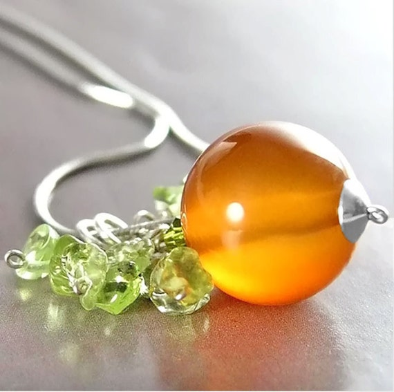 Orange Agate Pumpkin Necklace Sterling Silver Chain Green Peridot Burnt Orange Gemstone Necklace Autumn Jewelry Pumpkin Pendant Necklace