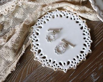 1set of 990 handmade silver OT lock -wreath
