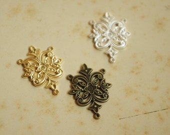 6Pcs Vintage Brass Stampings with 3 Links