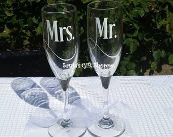 Mr. and Mrs.- Wedding - Bride & Groom - Bridal Shower Gift - Vinyl Decals - GLASSES NOT INCLUDED