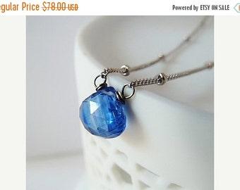 SALE Sapphire Kyanite Necklace. Ceylon Sapphire color. Kashmir Sapphire. Sapphire necklace. Virgo gifts. September birthstone. Kyanite neckl