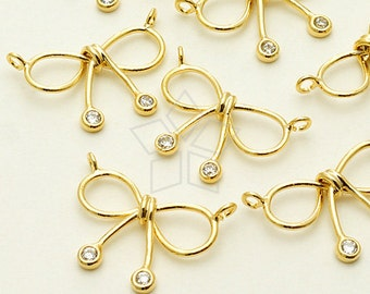 PD-1088-GD / 2 Pcs - CZ Wire Ribbon Sydeways Pendant, 16K Gold Plated over Brass / 16mm x 12mm