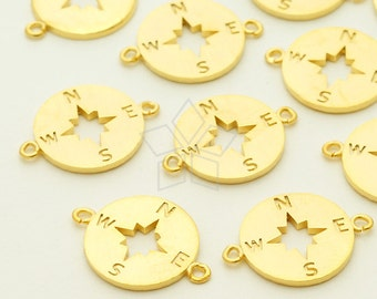 PD-1206-MG / 2 Pcs - Compass Sideways Pendant for Bracelet, Matte Gold Plated over Brass / 11mm