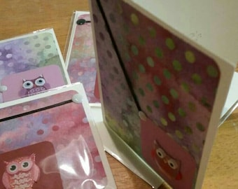 Thank you cards, owls, Multi colors, pink,purples, chose 1 or many