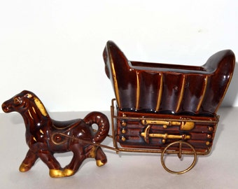 Horse and Covered Wagon Brown Porcelain Planter with Gold Leaf Home and Garden Lawn and Garden Gardening Pots and Planters