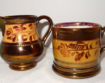 Copper Luster Creamer and Cappucino Cup Floral Motif with Mauve Band Home and Garden Kitchen and Dining Serve Ware Tableware