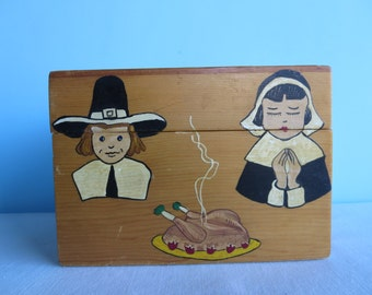 Vintage Wooden Handpainted Recipe Box - Pilgrims - Vegetables