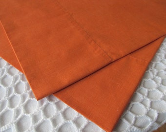 Vintage Pillowcase Pair Solid Rust Color Standard Size Set of 2 Red Brown