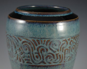 Blue Wide Mouth Stoneware Vase With Carved Abstract Design
