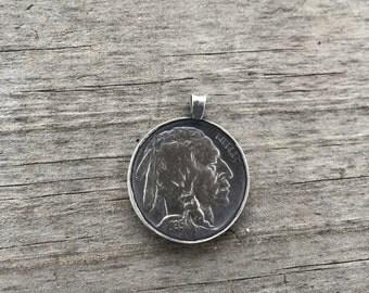 1935 Indian Head Buffalo Nickel Pendant Sterling Silver Handmade