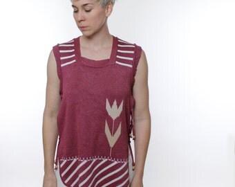 Vintage 70's vest / poncho, dusty rose pink, white tulip & stripe pattern, tie sides, wooden toggles - Medium