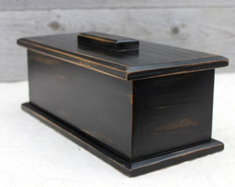 Remote Control Holder Wooden Box with Lid in Rustic Black