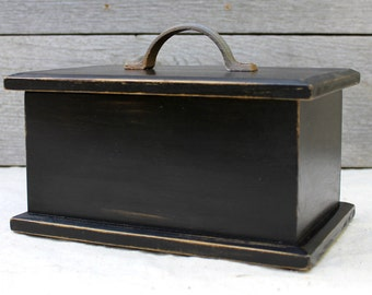 Wooden Box with Lid - Black with Metal Handle
