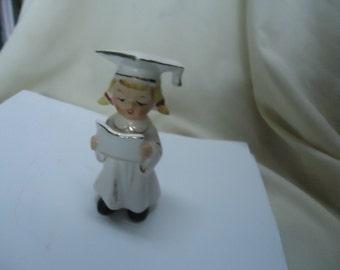 Vintage Ceramic Woman or Girl Wearing Graduating Hat or Cap Figurine, Japan