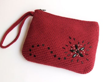 SALE!! 45% OFF!!  Burgundy crochet cotton night wristlet