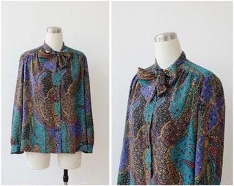 on SALE. Paisley Blouse Ascot Blouse Jewel Tone Colorful Blouse Neck Tie Blouse Secretary Blouse  L XL