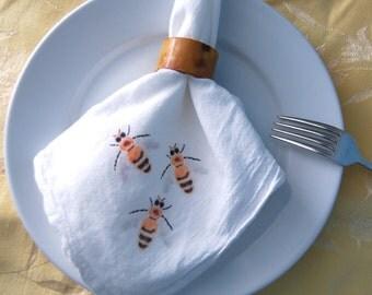 Bumble Bees Napkins Flour Sack Dining Decor Set of 2 Naturalist Bee Keeper Theme Gardener Illustration