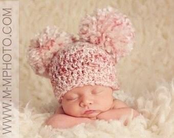 Newborn Double Pom Pom Hat, Crochet Baby Double Pom Pom Hat, Newborn Pom Pom Hat, Baby Hat, Any Color, Newborn Photo Prop, Baby Photo Prop