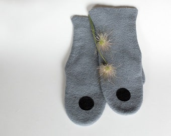 Felt gloves mittens, Felted gloves, gray wool gloves, warm gloves, Felted grey mittens, hand made gloves, gray gloves, felt wool gloves
