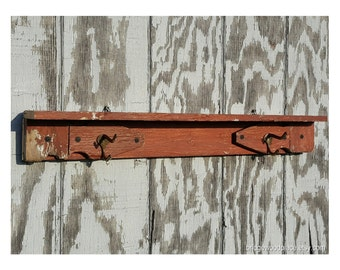 Rustic Coat Rack, Reclaimed Wood Shelf Coat Rack, Farmhouse Wall Shelf with Coat Hooks, Country Chic Coat Rack Shelf, Coat Hanger Shelf