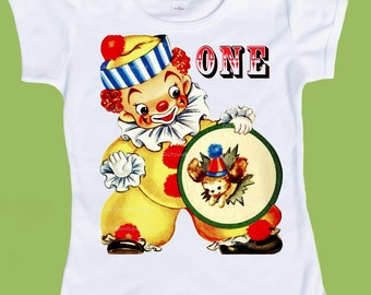 Birthday Shirt, Clown, Circus Birthday, Baby, 1st Birthday, Toddler Tees, Girls Boys T-Shirt, One Piece Baby,cake smash, ChiTownBoutique