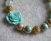 Girls Aqua Mint and Gold Chunky Gumball Beaded Necklace Photoprop