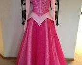 Parks Sleeping Beauty Princess Aurora adult custom size 2 4 6 8 10 Pink Swirls Organza Satin Circle Skirts
