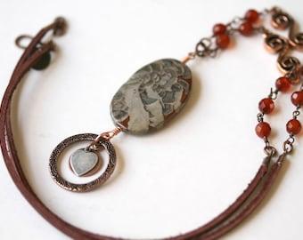 Gemstone Lanyard, Heart Charm, Copper Eyeglass Necklace, Orange Lanyard, Leather Corded, ID Badge Holder, Badge Necklace, Valentines