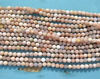 15.5 Inch Strand of 6mm Matte Peach Moonstone - Mixed Color Strand - Jewelry Supplies by Zardenia