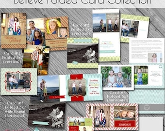 SALE Believe FOLDED Christmas Card COLLECTION- Set of 5 photo card templates for photographers on Whcc Specs