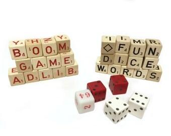 Vintage Game Dice Ad Lib Letter Dice Red Letter Dice, Black Letter Dice, Lot of 31 Dice, Vintage Game Pieces, Vintage Red Dice, Destash Dice
