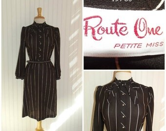Sale Valentines 1970s Route One Shirt Dress, Long Sleeves Pinstripes, Elastic Waist, Brown and White, Medium , #47096